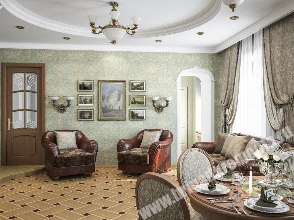 Отделка гостиной в квартире на Итальянской