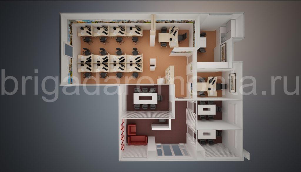 Макет нежилого помещения, вид сверху, офисная мебель