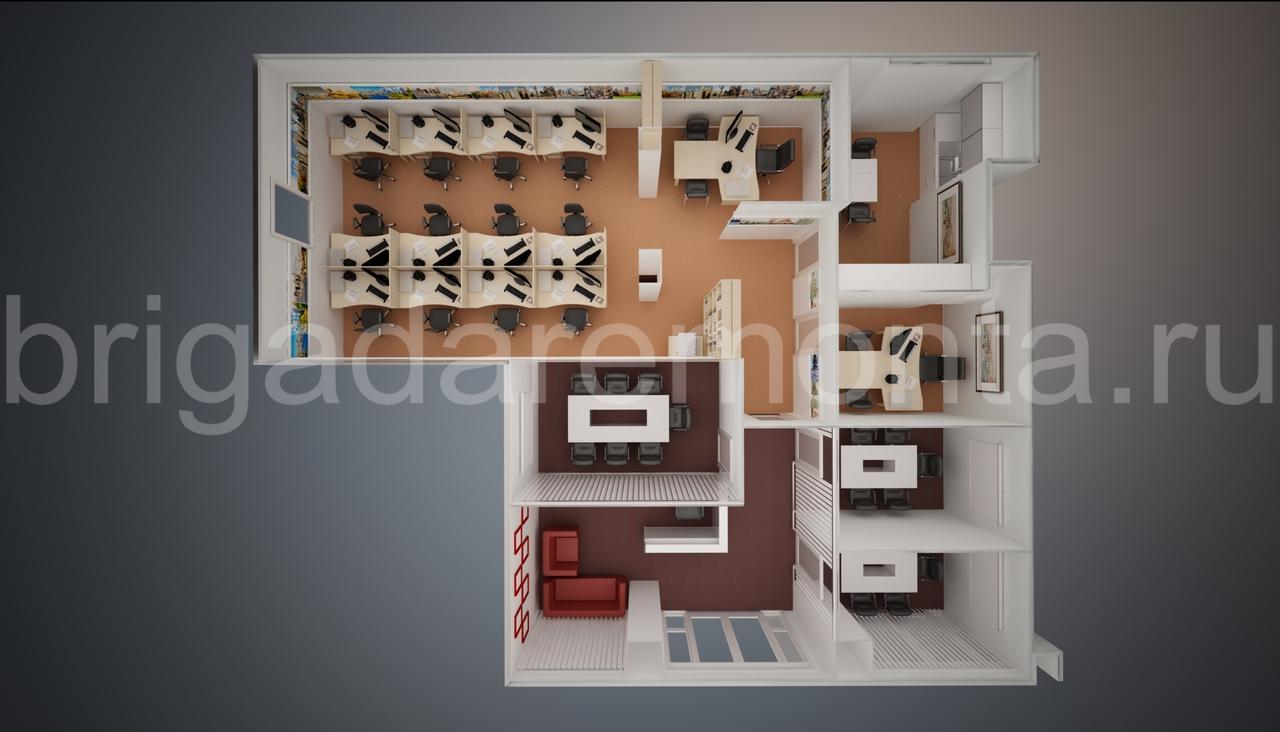 Макет нежилого помещения,вид сверху,офисная мебель
