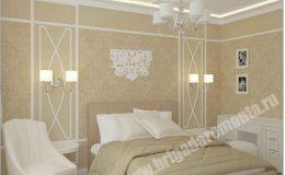 Отделка спальной комнаты компанией Бригада Ремонта