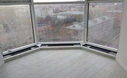 панорамное окно во время ремонта, город с высоты