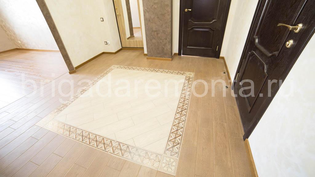 Укладка паркета в прихожей., ремонт квартиры, ремонт прихожей, рисунок на полу