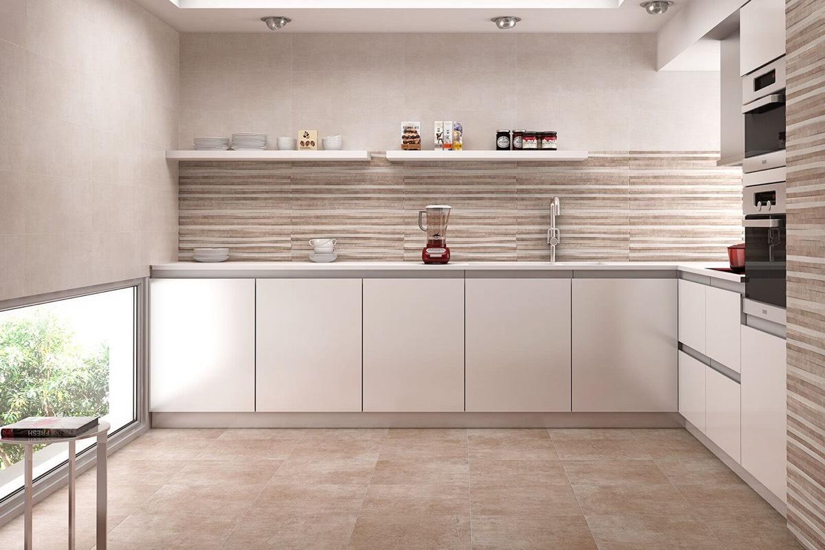 Крупная плитка на кухне